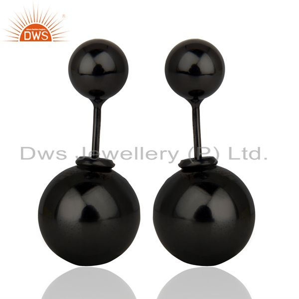 Two Ball Stud,Two Way Stud Post 14K Black Rhodium Trendy Sterling Silver Earring