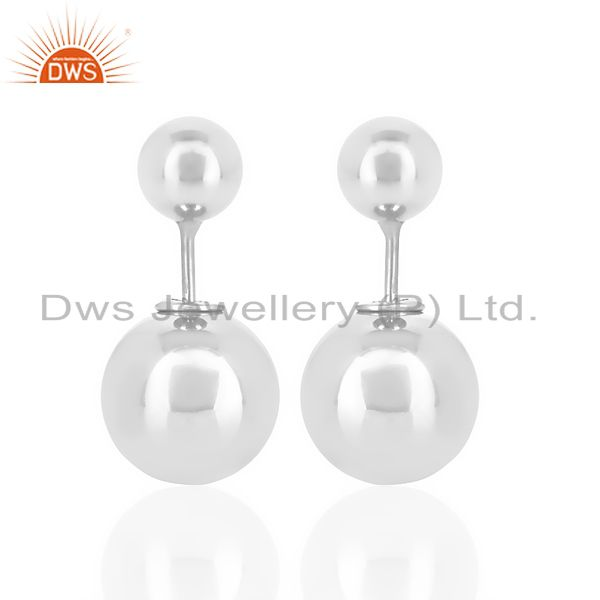 Two Ball Stud,Two Way Stud Post White Rhodium Trendy Sterling Silver Earring