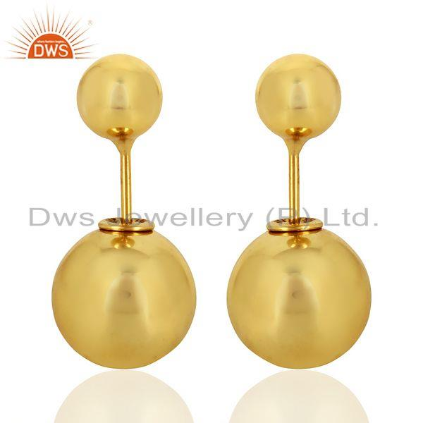 Two Ball Stud,Two Way Stud Post 14K Gold Plated Trendy Sterling Silver Earring