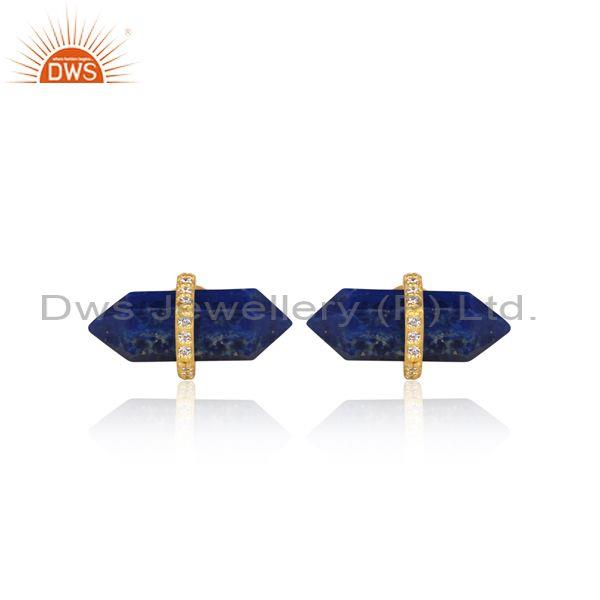 CZ And Lapis Set Gold On Sterling Silver Capsule Earrings