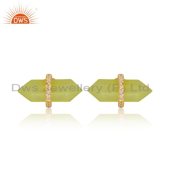 Pencil cut yellow moonstone designer gold over silver stud earring