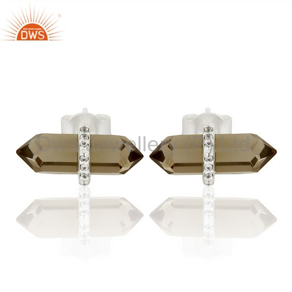 Smoky Topaz Cz Studded Pencil Post 92.5 Sterling Silver Wholesale Earring