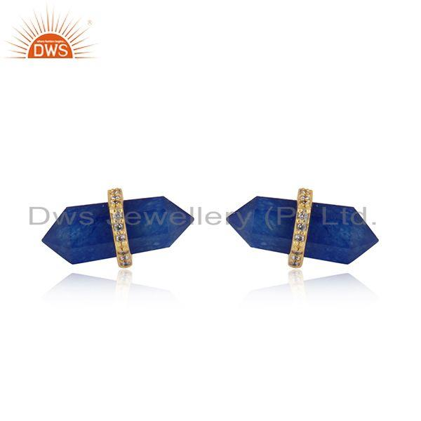 Handcrafted designer lapis pencil gold on silver 925 cz studs
