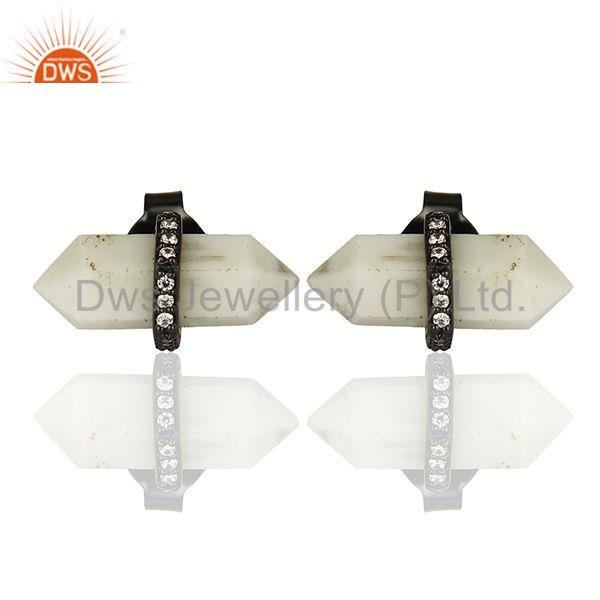 Black 925 Silver Pencil Design Gemstone Stud Earrings Wholesale