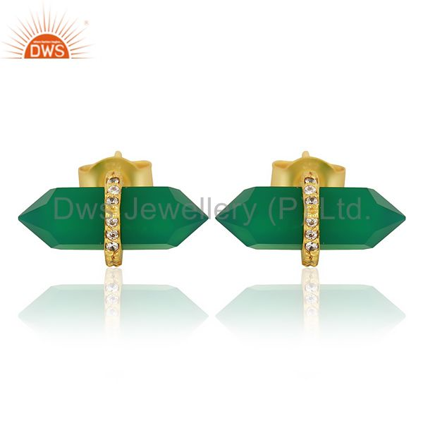 Green Onyx Cz Studded Pencil Post 14K Gold Plated Sterling Silver Earring