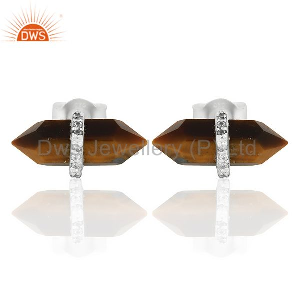 Tigereye Cz Studded Pencil Post 92.5 Sterling Silver Wholesale Earring