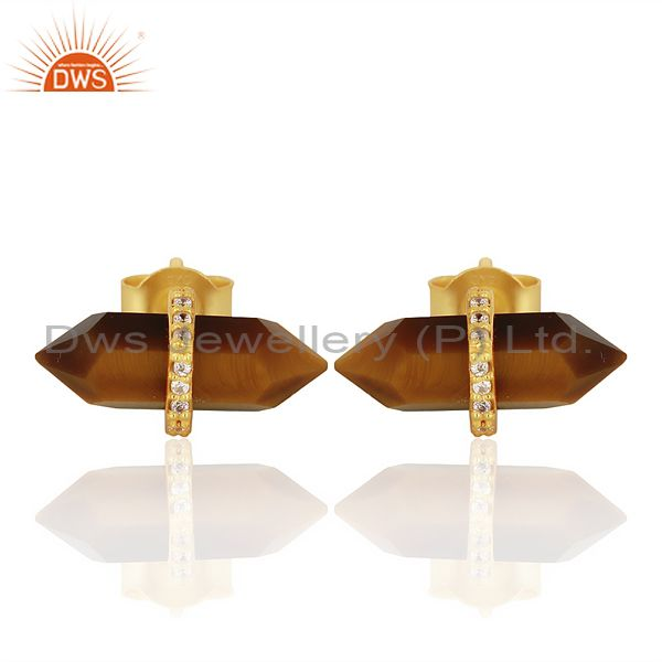 Tigereye Cz Studded Pencil Post 14K Gold Plated Sterling Silver Earring