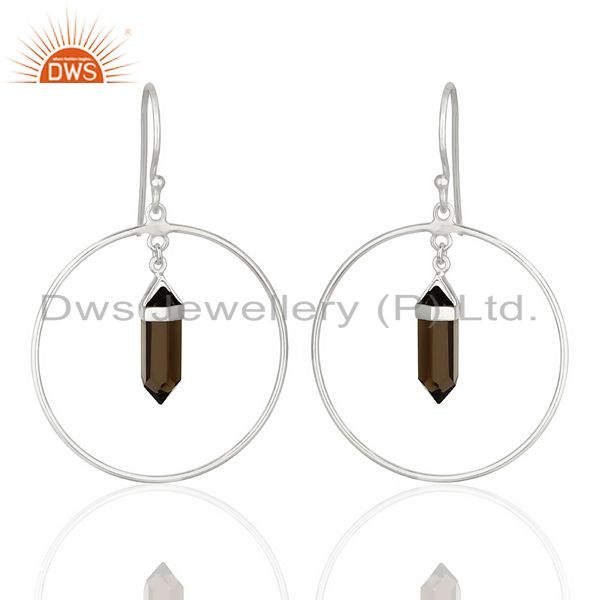 Smoky Topaz Hoop Earring,Pencil Terminated Earring,92.5 Silver Earring