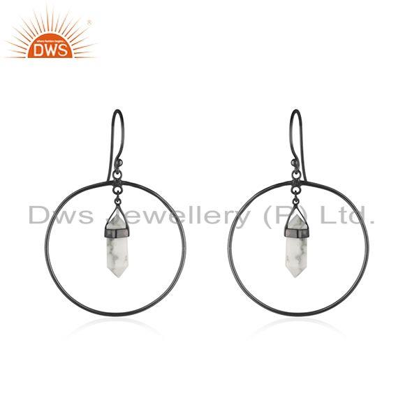 Handmade 925 Silver Black Rhodium Plated Gemstone Earrings Manufacturer India