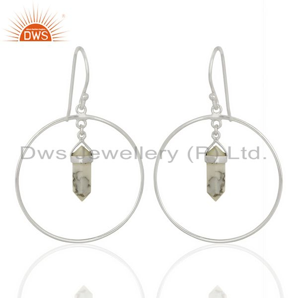 Howlite Hoop Earring,Pencil Terminated Earring,92.5 Silver Earring