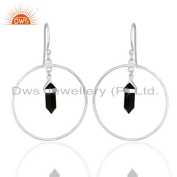 Black Onyx Hoop Earring,Pencil Terminated Earring,92.5 Silver Earring