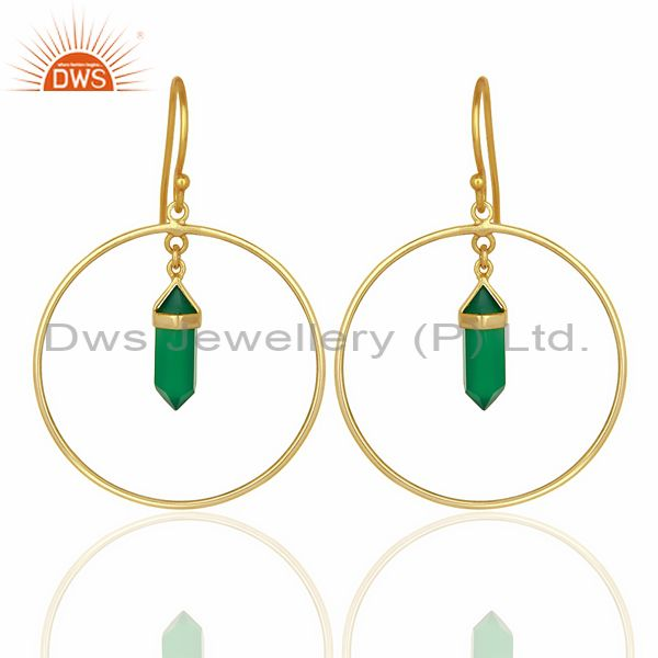 Green Onyx Hoop Earring,Pencil Terminated Earring Gold Plated Silve Earring