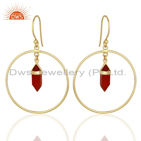 Red Onyx Hoop Earring,Pencil Terminated Earring Gold Plated Silve Earring