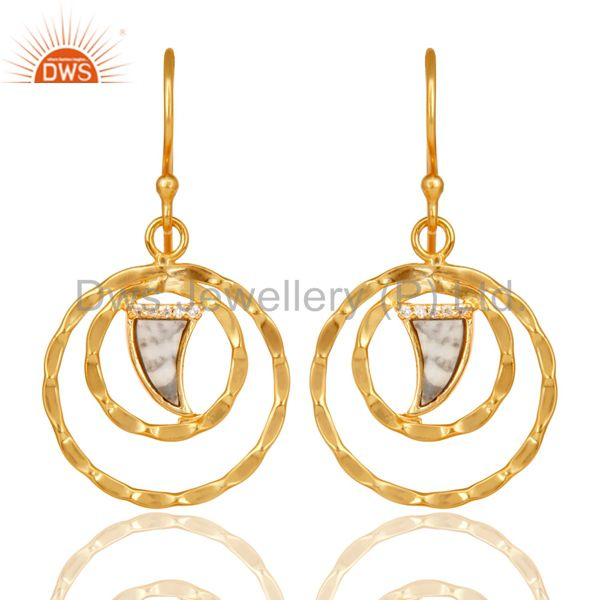 Howlite Textured Hoops,Horn Hoops,Gold Plated 92.5 Silver Hoops Earring