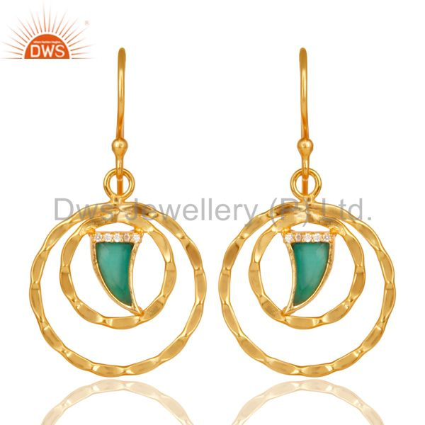 Green Onyx Textured Hoops,Horn Hoops,Gold Plated 92.5 Silver Hoops Earring