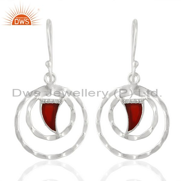 Red Onyx Textured Hoops,Horn Hoops,92.5 Silver Wholesale Hoops Earring