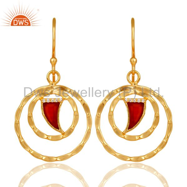 Red Onyx Textured Hoops,Horn Hoops,Gold Plated 92.5 Silver Hoops Earring