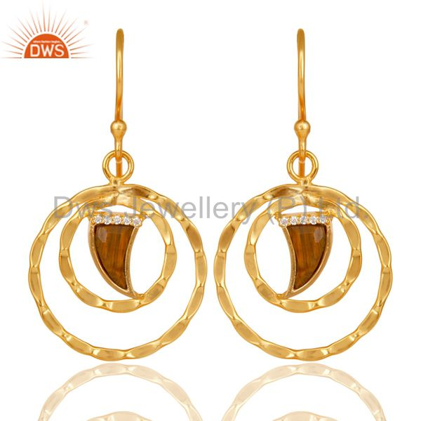 Tigereye Textured Hoops,Horn Hoops,Gold Plated 92.5 Silver Hoops Earring