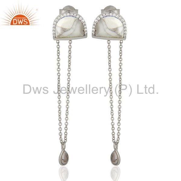 Cz Gemstone 925 Silver White Chain Earrings Manufacturer from India