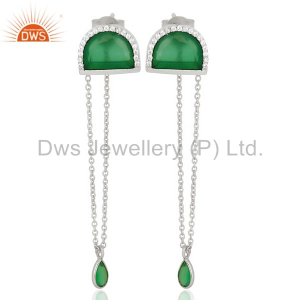 Green Onyx Studded Half Moon Long Dangle 92.5 Sterling Silver Earring