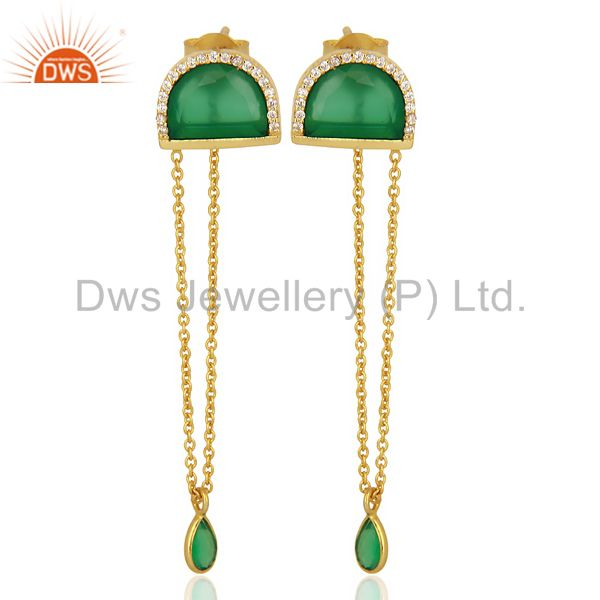 Green Onyx Studded Half Moon Long Dangle Gold Plated Sterling Silver Earring