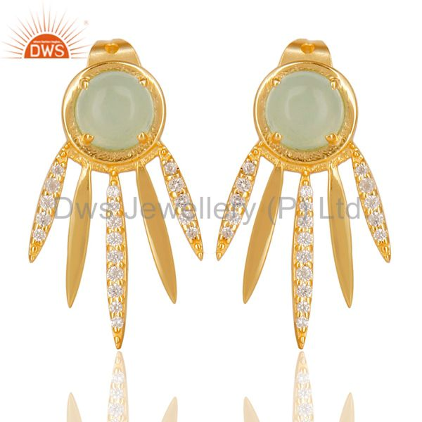 Aqua Chalcedony White Cz Studded Spike Post Gold Plated Sterling Silver Earring