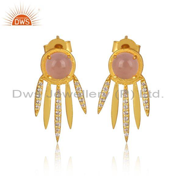 Cz and rose chalcedony set gold on 925 silver boho earrings