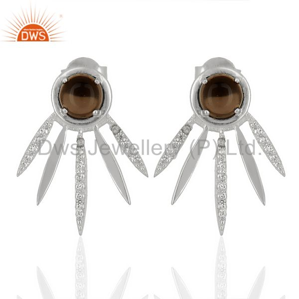 Smoky Topaz And White Cz Studded Spike Post 92.5 Sterling Silver Earring
