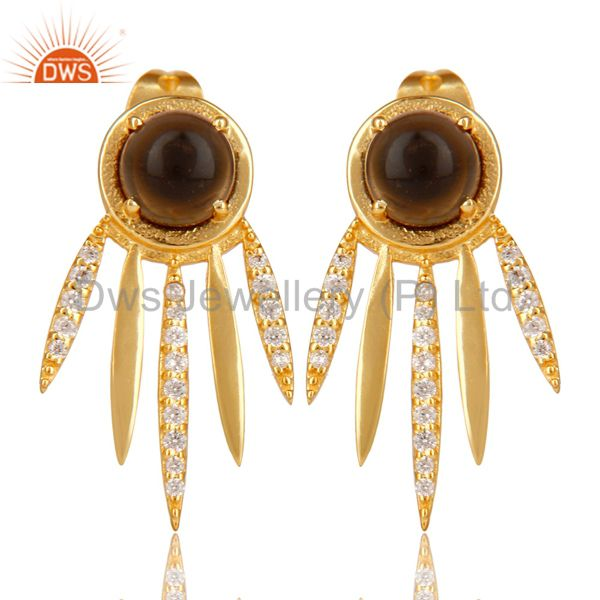 Smoky Topaz And White Cz Studded Spike Post Gold Plated Sterling Silver Earring