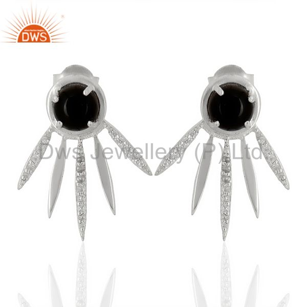 Black Onyx And White Cz Studded Spike Post 92.5 Sterling Silver Earring
