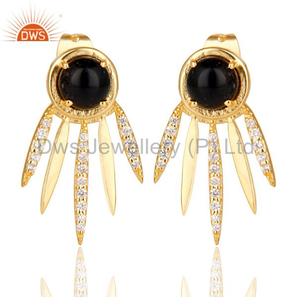 Black Onyx And White Cz Studded Spike Post Gold Plated Sterling Silver Earring