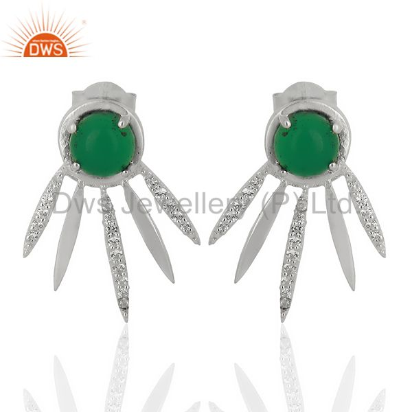 Green Onyx And White Cz Studded Spike Post 92.5 Sterling Silver Earring