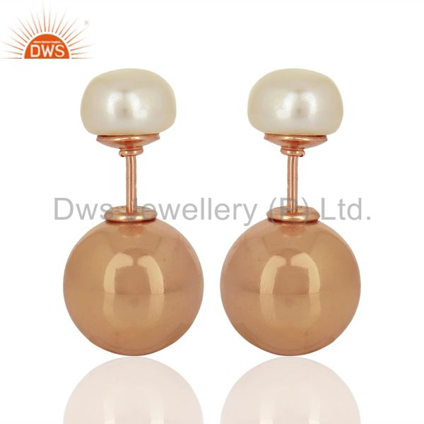 Pearl Stud 18K Rose Gold Plated 925 Sterling Silver Stud Earrings Jewelry