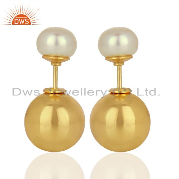 Pearl Stud 18K Yellow Gold Plated 925 Sterling Silver Stud Earrings Jewelry