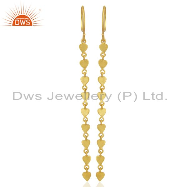 14K Yellow Gold Plated 925 Sterling Silver Long Chain Dangle Earrings Jewelry