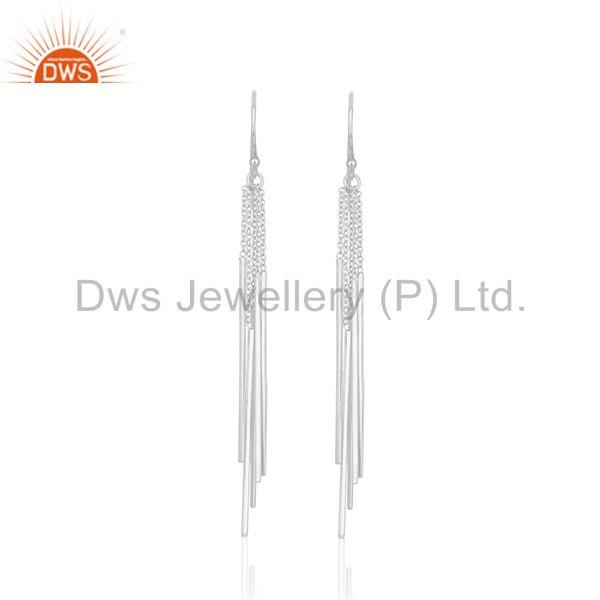 Long Tassel Chain 925 Sterling Silver White Rhodium Plated Dangle Earring