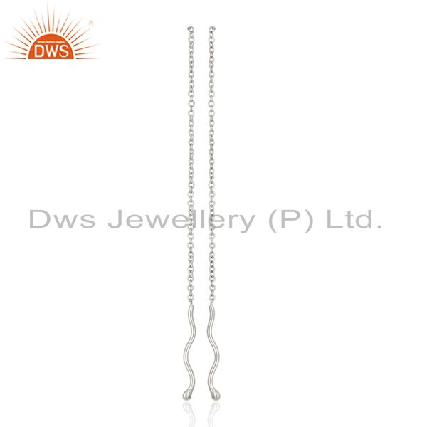Threader Chain925 Sterling Silver White Rhodium Plated Earrings Jewellery
