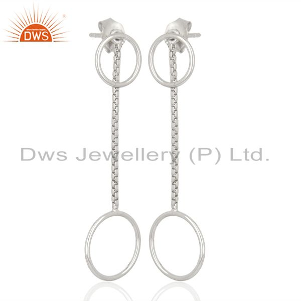 Double Circle Chain 925 Sterling Silver White Rhodium Plated Dangle Earrings