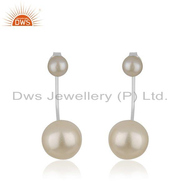 925 Sterling Fine Silver Natural Pearl Gemstone Designer Earrings Jewelry