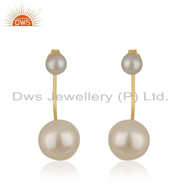 Natural Pearl Gemstone Designer Gold Plated Silver Earrings Jewelry