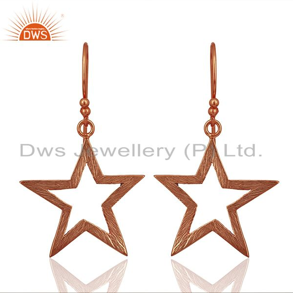 Rose Gold Plated Silver Star Designer Plain Silver Earrings Jewelry