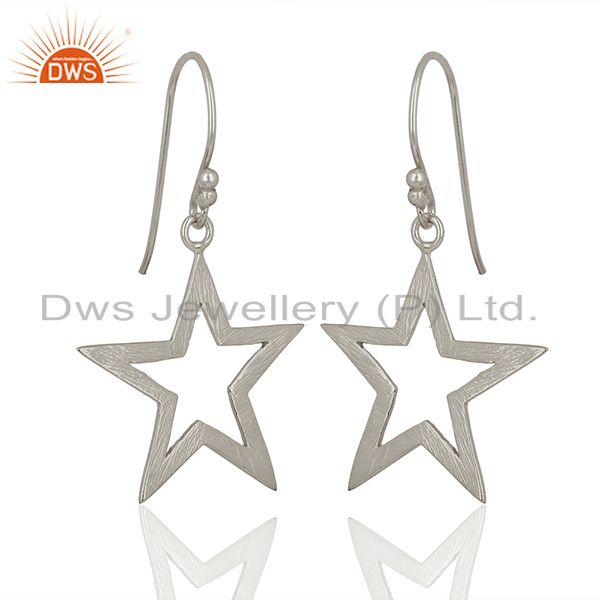 925 Sterling Fine Silver Star Design Girls Earring Jewelry Manufacture