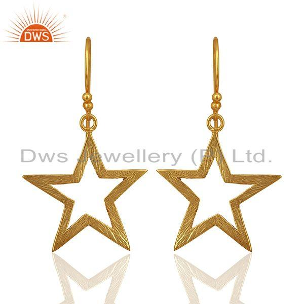 Lucky Star Charm Gold Plated Sterling Plain 925 Silver Earrings