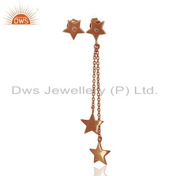 Rose Gold Plated Sterling Silver White Topaz Star Charm Chain Earrings