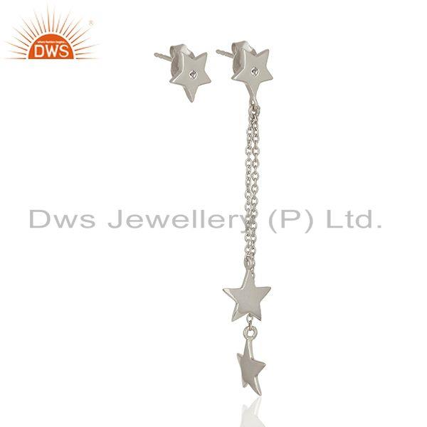 Star Charm Handmade Fine Sterling Silver Chain Earring Manufacturer