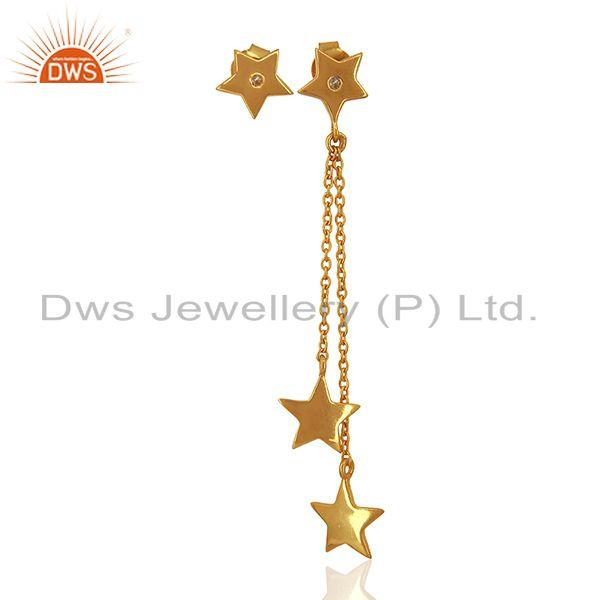 White Topaz Gemstone 925 Silver Gold Plated Star Chain Earrings