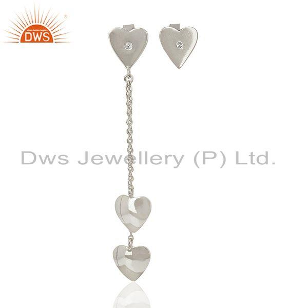 Heart Design Fine Sterling Silver Chain Earring Manufacturer Wholesale