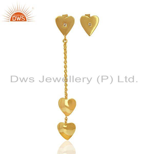 Heart Design Gold Plated Sterling Silver Chain Earring Manufacturer