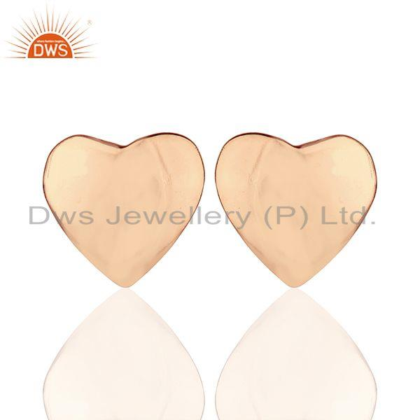 Rose Gold Plated 925 Sterling Plain Silver Heart Stud Earring Supplier