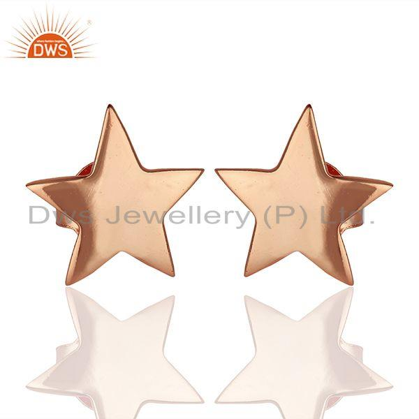 14k Rose Gold Plated Star Charm Sterling Silver Stud Earring Supplier